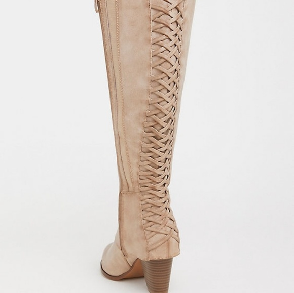 Torrid Shoes Tan Lattice Knee Boot Wide Width Wide Calf Poshmark